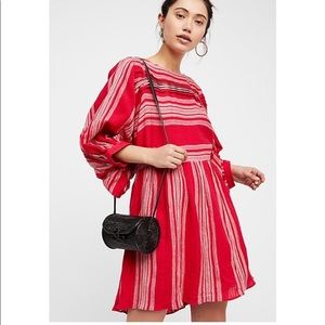 NWT Free people M Red&white long sleeve dress.